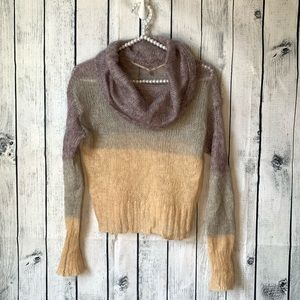 ANTHROPOLOGIE Colorblock open knit mohair sweater